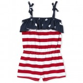 Baby And Toddler Girls Americana Sleeveless Stars And Stripes Print Knit Tie Shoulder Romper