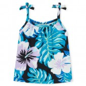 Baby And Toddler Girls Matchables Sleeveless Floral Print Tie Shoulder Top