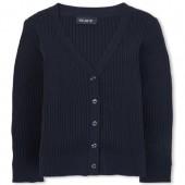 Girls Uniform Long Sleeve Boyfriend Fit Rib Knit Cardigan