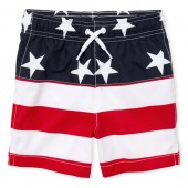 Baby And Toddler Boys Americana Stars And Stripes Print Swim Trunks