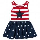 Baby And Toddler Girls Americana Sleeveless Stars And Stripes Print Knit Skater Dress