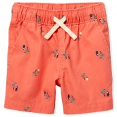 Baby And Toddler Boys Toucan Print Woven Pull On Jogger Shorts