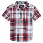 Baby And Toddler Boys Americana Short Sleeve Plaid Poplin Button Down Shirt