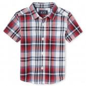 Baby And Toddler Boys Americana Short Sleeve Plaid Poplin Button Down Shirt