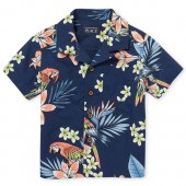 Baby And Toddler Boys Short Sleeve Parrot Print Poplin Button Down Shirt