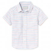 Baby And Toddler Boys Short Sleeve Striped Chambray Button Down Shirt