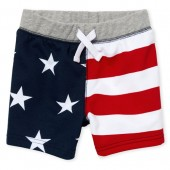 Baby And Toddler Boys Americana Flag Print Knit Terry Shorts
