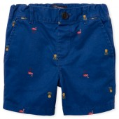 Baby And Toddler Boys Flamingo And Pineapple Print Woven Chino Shorts