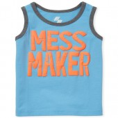Baby And Toddler Boys PLACE Sport Puff Print 'Mess Maker' Graphic Tank Top