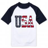 Boys Americana Short Raglan Sleeve 'USA' Graphic Rashguard