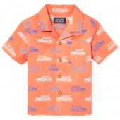 Baby And Toddler Boys Short Sleeve Surf Car Print Cross Hatch Button Down Shirt