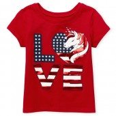 Baby And Toddler Girls Americana Short Sleeve Foil 'Love' Unicorn Graphic Tee