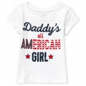 Baby And Toddler Girls Americana Short Sleeve Glitter 'Daddy's Girl' Graphic Tee