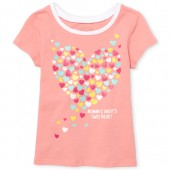 Baby And Toddler Girls Short Sleeve Glitter 'Mommy And Daddy's Sweetheart' Heart Graphic Tee