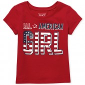 Baby And Toddler Girls Matching Family Americana Short Sleeve 'All American' Graphic Tee