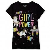 Girls Short Sleeve 'Girl Power' Glitter Patch Graphic Tee