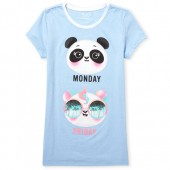 Girls Short Sleeve Glitter 'Monday Friday' Pandas Graphic Tee