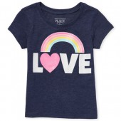 Baby And Toddler Girls Short Sleeve Glitter 'LOVE' Graphic Tee