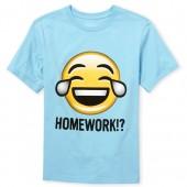 Boys Short Sleeve 'Homework' Emoji Graphic Tee