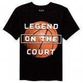 Boys Short Sleeve 'Legend On The Court' Basketball Graphic Tee