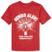Boys Short Sleeve 'Genius Alert' Graphic Tee