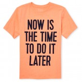 Boys Short Sleeve 'Now Is The Time To Do It Later' Graphic Tee