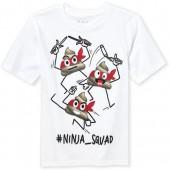 Boys Short Sleeve 'Hashtag Ninja Squad' Swirl Emoji Graphic Tee