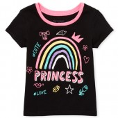 Baby And Toddler Girls Short Sleeve Princess Graphic Tee