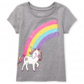Baby And Toddler Girls Short Sleeve Glitter Rainbow Unicorn Graphic Tee