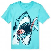 Boys Short Sleeve Shark Burger Graphic Tee