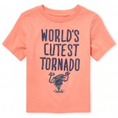 Baby And Toddler Boys Short Sleeve 'World's Cutest Tornado' Graphic Tee