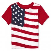 Baby And Toddler Boys Americana Short Sleeve Flag Graphic Tee
