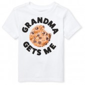Baby And Toddler Boys Short Sleeve 'Grandma Gets Me' Cookie Graphic Tee