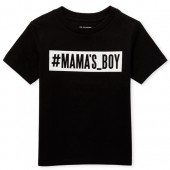 Baby And Toddler Boys Short Sleeve Glow In The Dark 'Hashtag Mama's Boy' Graphic Tee
