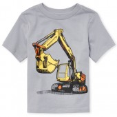 Baby And Toddler Boys Short Sleeve Construction Truck Graphic Tee