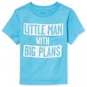Baby And Toddler Boys Short Sleeve 'Little Man With Big Plans' Graphic Tee