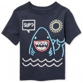 Baby And Toddler Boys Short Sleeve 'Sup?' Shark Graphic Tee