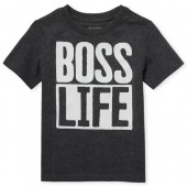 Baby And Toddler Boys Short Sleeve 'Boss Life' Graphic Tee