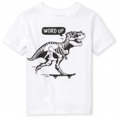Baby And Toddler Boys Short Sleeve 'Word Up' Dino Graphic Tee
