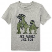 Baby And Toddler Boys Short Sleeve 'Like Father Like Son' Dino Graphic Tee