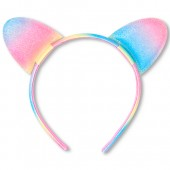Toddler Girls Glitter Rainbow Cat Ears Headband