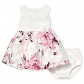 Baby Girls Sleeveless Lace And Floral Knit To Woven Dress And Bloomers Set