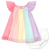 Baby Girls Short Flutter Sleeve Rainbow Pleated Woven Dress And Bloomers Set