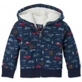 Baby And Toddler Boys Print Sherpa Lined Fleece Zip Up Hoodie