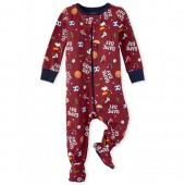 Baby And Toddler Boys Long Sleeve 'Game Day' Snug Fit Cotton Footed One Piece Pajamas