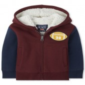 Baby And Toddler Boys Football Sherpa Lined Fleece Zip Up Hoodie