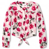 Girls Long Sleeve Floral Print Woven Tie Front Top