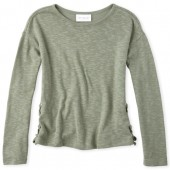 Girls Long Sleeve Lace Up Lightweight Sweater Top