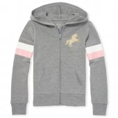 Girls Active Glitter Graphic French Terry Zip Up Hoodie