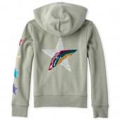 Girls Active Rainbow Embellished Graphic Fleece Zip Up Hoodie
